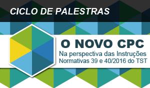 banner sobre o ciclo de palestras do novo código de processo civil